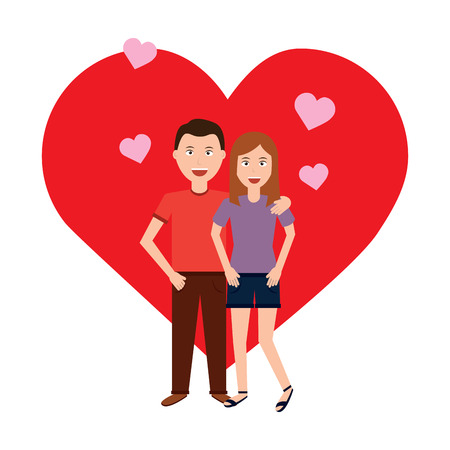 valentines day poster with man and woman  tenderly hugging  vector illustration
