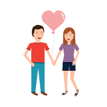 Couple of young man and woman hold hands vector illustration Illustration
