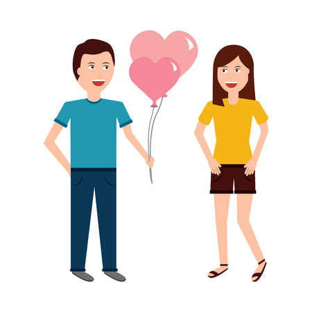 Young man giving heart-shaped balloons, valentines day vector illustration