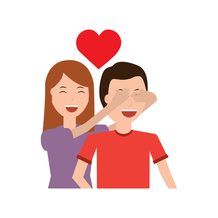 woman covering her boyfriends eyes surprise valentines day romance Ilustração