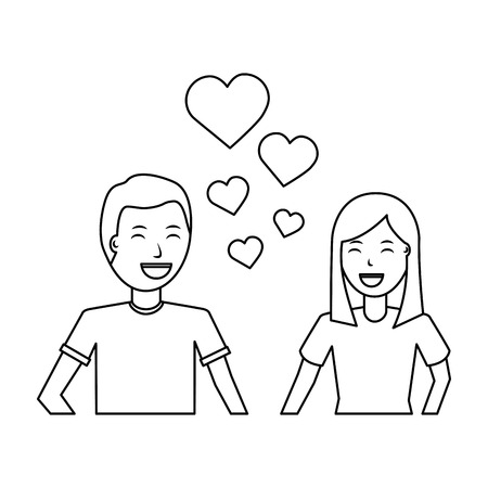 happy couple embraced together relationship hearts love vector illustration outline design