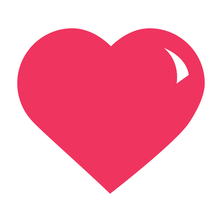 cute big heart love passion feeling vector illustration