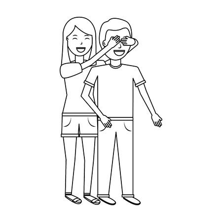 彼女のボーイフレンドの目をカバーする女性は、バレンタインデーのロマンスアウトラインデザインを驚かせる  イラスト・ベクター素材