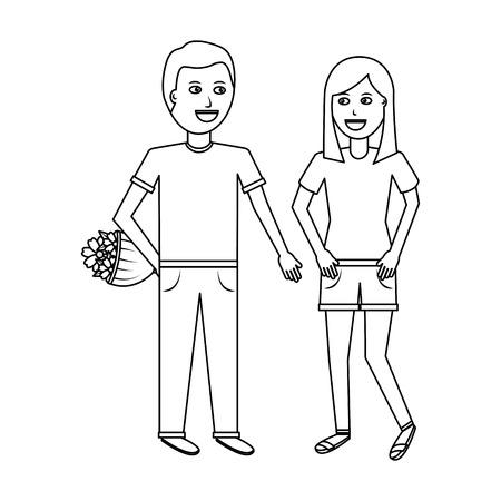 남자 higing 여자 꽃 로맨틱 축하 벡터 일러스트 레이션 디자인 개요