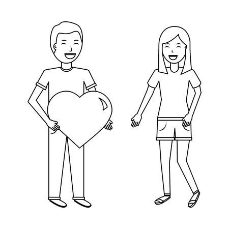 man gives big heart and happy woman valentines day vector illustration outline design