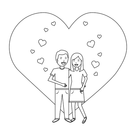 valentines day poster with man and woman tenderly hugging vector illustration outline design Illustration