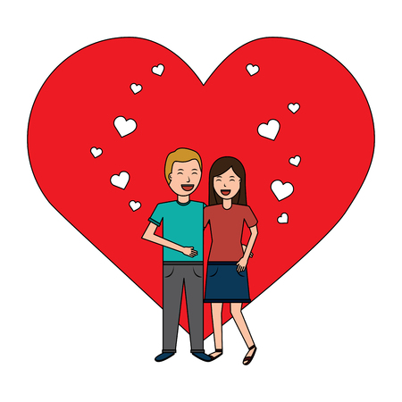 valentines day poster with man and woman tenderly hugging  vector illustration Stock Vector - 94848769