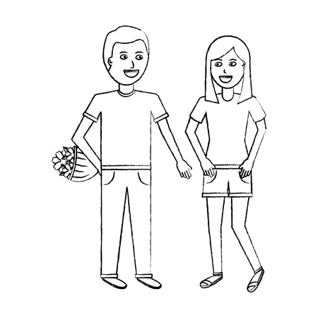 the man higing the girl flowers romantic celebration vector illustration sketch design   Illusztráció