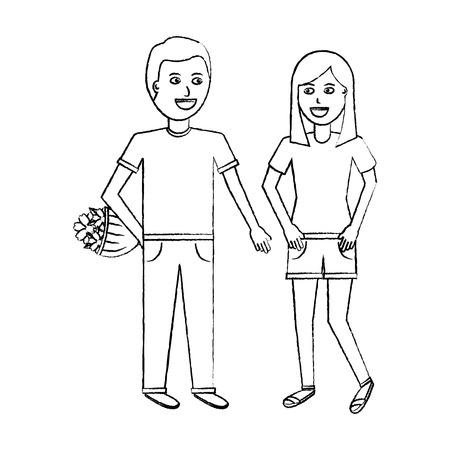 the man higing the girl flowers romantic celebration vector illustration sketch design Stock fotó - 94848876