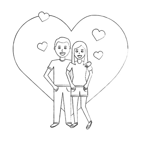 valentines day poster with man and woman tenderly hugging vector illustration sketch design Stock Vector - 94885981
