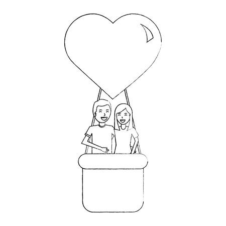 couple traveling in air balloon adventure romance vector illustration sketch design
