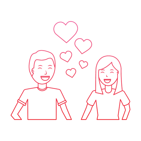 happy couple embraced together relationship hearts love vector illustration Фото со стока - 94932493