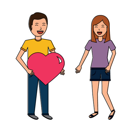 man gives big heart and happy woman valentines day vector illustration Illustration