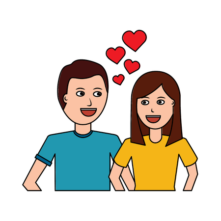 happy couple embraced together relationship hearts love vector illustration