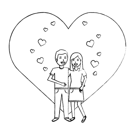 valentines day poster with man and woman tenderly hugging  vector illustration sketch design