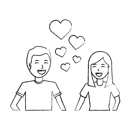 happy couple embraced together relationship hearts love vector illustration sketch design