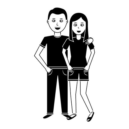 valentines day poster with man and woman tenderly hugging vector illustration black and white image