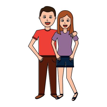 Valentijnsdag poster met man en vrouw teder knuffelen vector illustratie