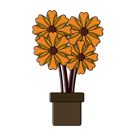 potted flower natural decoration floral icon vector illustration 向量圖像