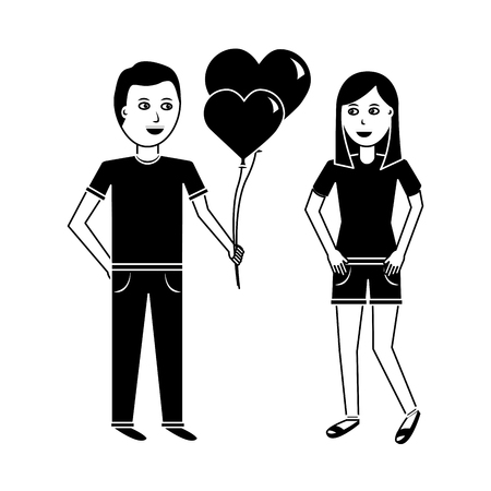 young man giving a woman hearts shape balloons valentines day vector illustration black and white image Illustration