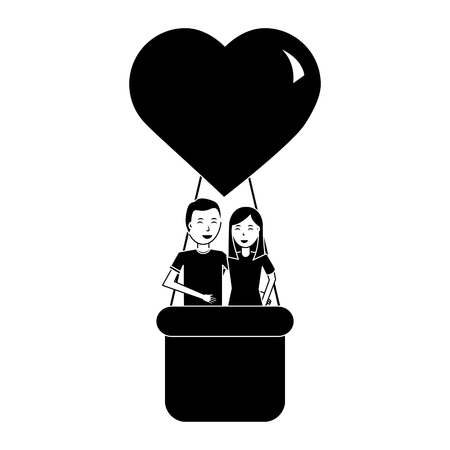 couple traveling in air balloon adventure romance vector illustration black and white image Illustration