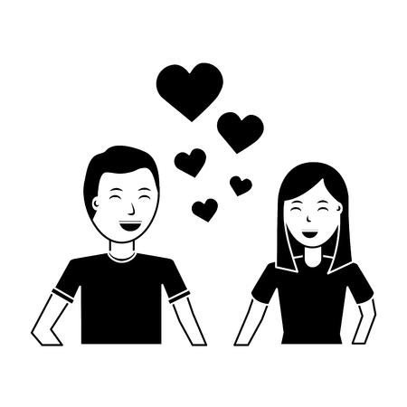 happy couple embraced together relationship hearts love vector illustration black and white image