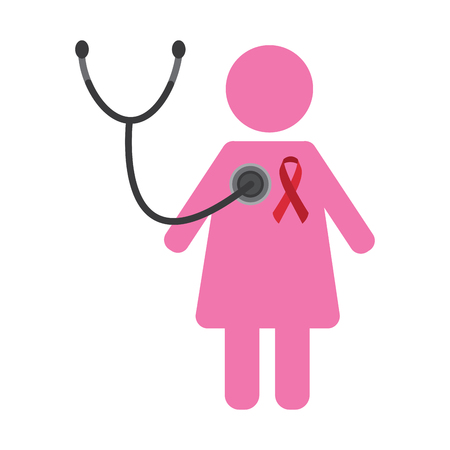 pink female with stethoscope and ribbon pport healthcare vector illustration Illustration