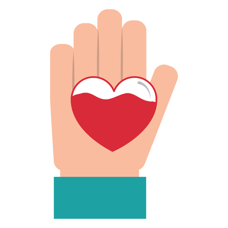 hand heart blood hemophilia support care symbol vector illustration