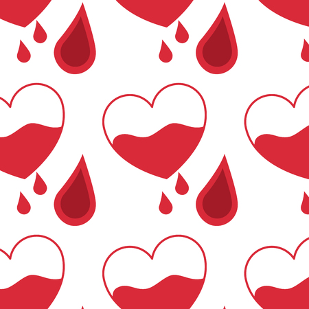seamless pattern red heart blood drops healthcare vector illustration