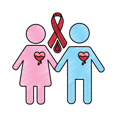 couple hemophilia campaign ribbon blood vector illustration drawing style design