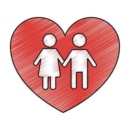 couple holds hand inside heart medical concept vector illustration drawing style design