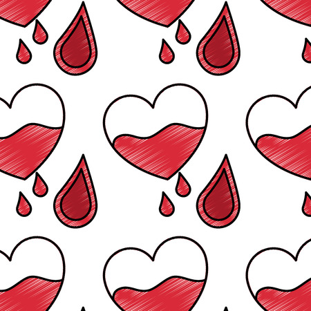 seamless pattern red heart blood drops healthcare vector illustration drawing style design