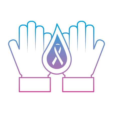 hands with drop blood and ribbon hemophilia care vector illustration degraded line color style