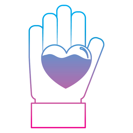 hand heart blood hemophilia support care symbol vector illustration degraded line color style