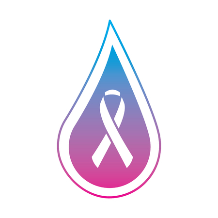 drop blood ribbon campaign symbol vector illustration degraded line color style