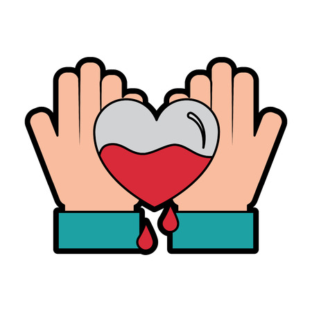 hands holding blood heart support hemophilia awareness vector illustration