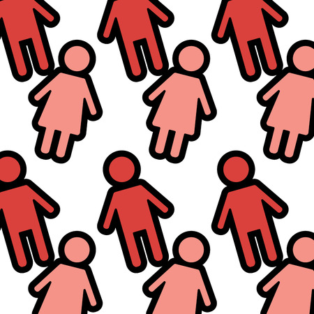 seamless pattern red female and man characters vector illustration