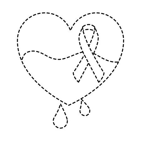 hemophilia heart blood and ribbon card vector illustration sticker style image Illustration