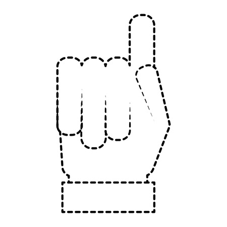 hand gesture with a raised index finger vector illustration sticker style image Illustration