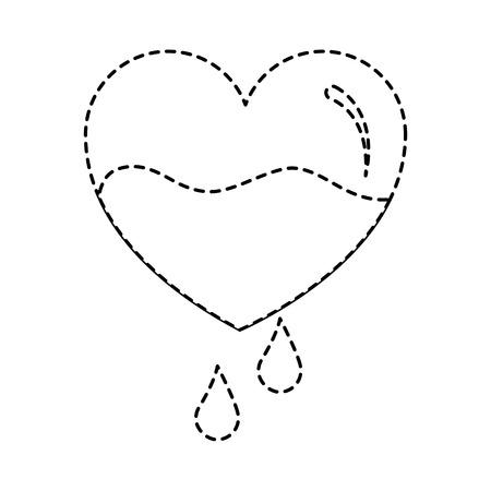 赤い心臓血滴落下防止ケアベクトルイラストステッカースタイル画像  イラスト・ベクター素材