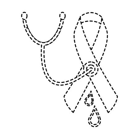 medical stethoscope ribbon blood hemophilia campaign vector illustration sticker style image Illustration