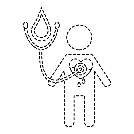 man stethoscoop hart bloed medische hemofilie vector illustratie sticker stijl afbeelding