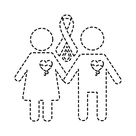 couple hemophilia campaign ribbon blood vector illustration sticker style image Ilustração