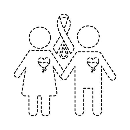 couple hemophilia campaign ribbon blood vector illustration sticker style image Ilustrace