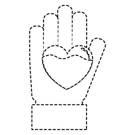 hand heart blood hemophilia support care symbol vector illustration sticker style image