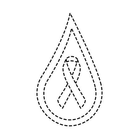 drop blood ribbon campaign symbol vector illustration sticker style image Illustration