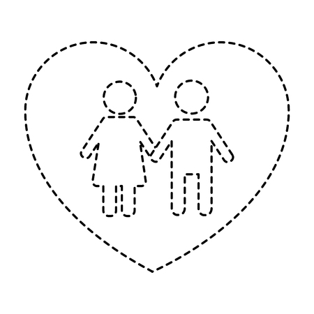 couple holds hand inside heart medical concept vector illustration sticker style image Illustration
