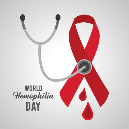 world hemophilia day ribbon emblem stethoscope blood vector illustration
