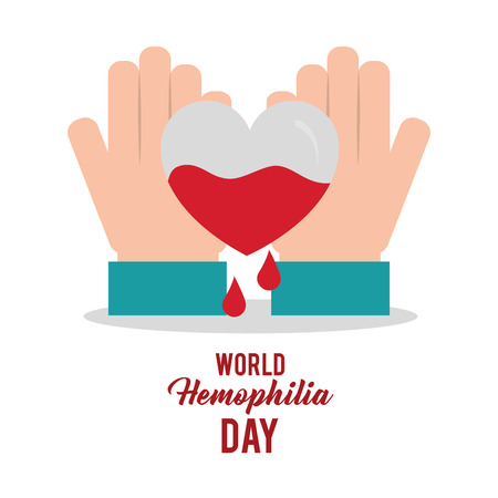 world hemophilia day hands with heart blood vector illustration 向量圖像