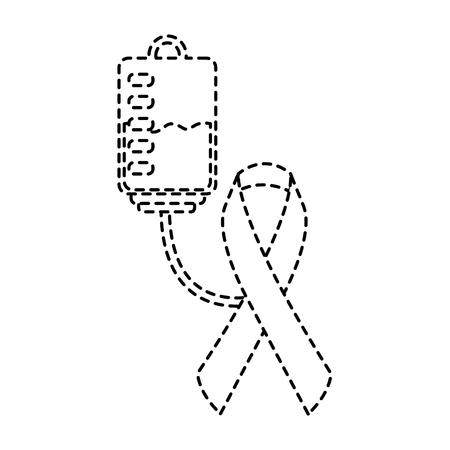 hemophilia plastic blood bag ribbon care vector illustration sticker style image